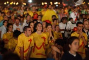 PIGLRIMS PRAY DURING EUCHARISTIC ADORATION AT WORLD YOUTH YOUTH DAY VIGIL IN MADRID