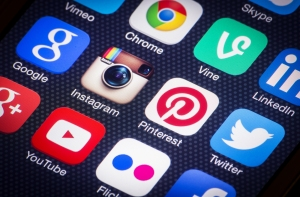 Social media icons on smartphone